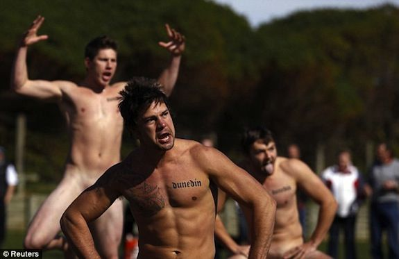 """1,500 onlookers watched as New Zealand's naked rugby team, ironically named the """"Nude Blacks"""" got their butt's spanked (no pun intended) by a clothed women's rugby team from Spain. The friendly ..."""